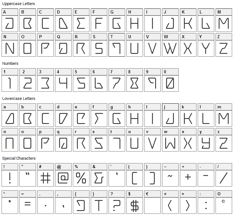 Tracer Font Character Map