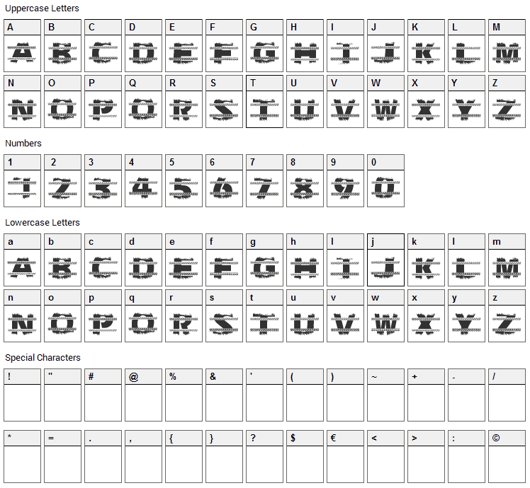 Trackers Font Character Map