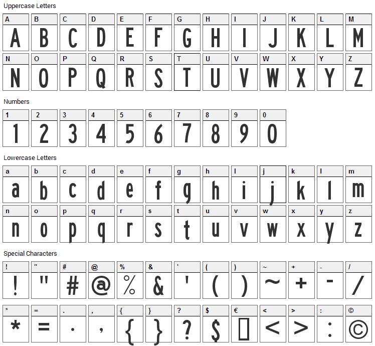 Traffic Font Character Map