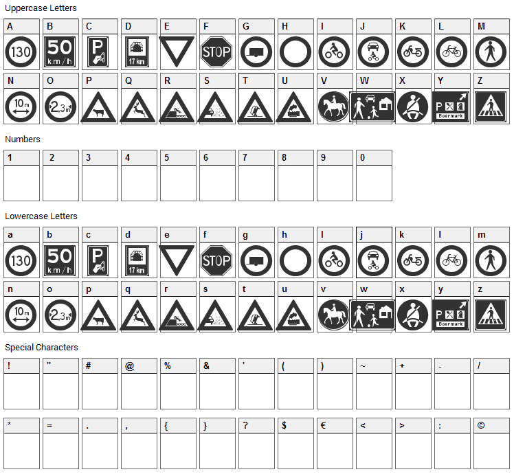 Traffic Signs Font Character Map