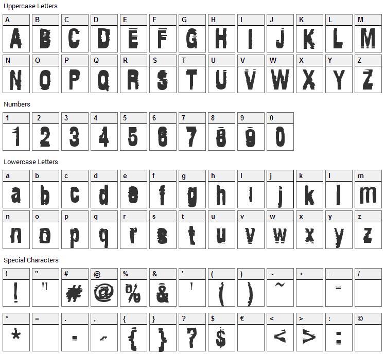 Tragedia Font Character Map