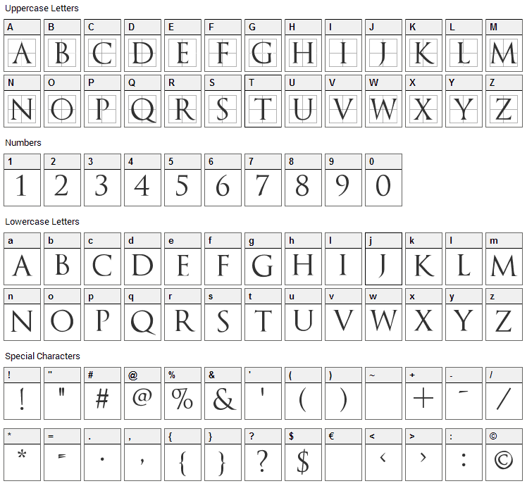 TrajanusBricks Font Character Map