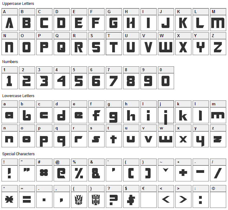 Transformers Font Character Map