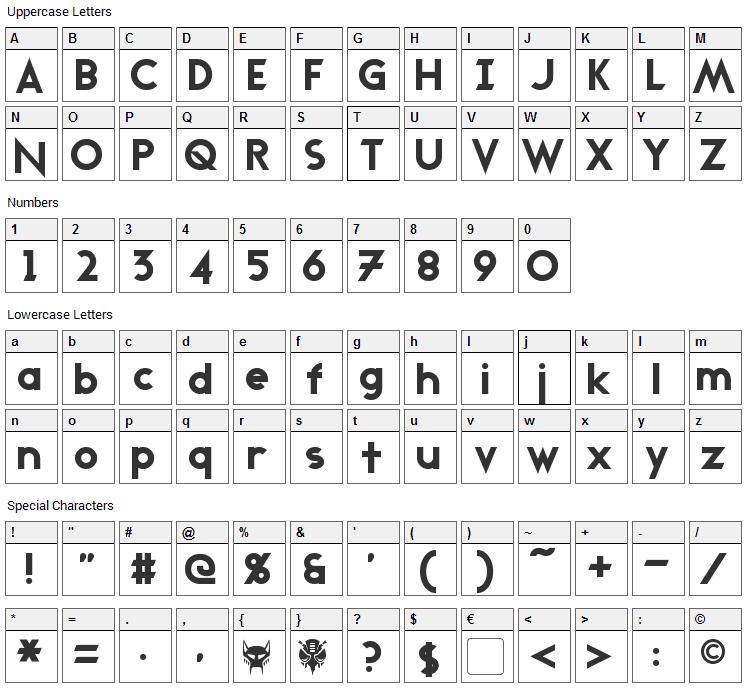 Transmetals Font Character Map
