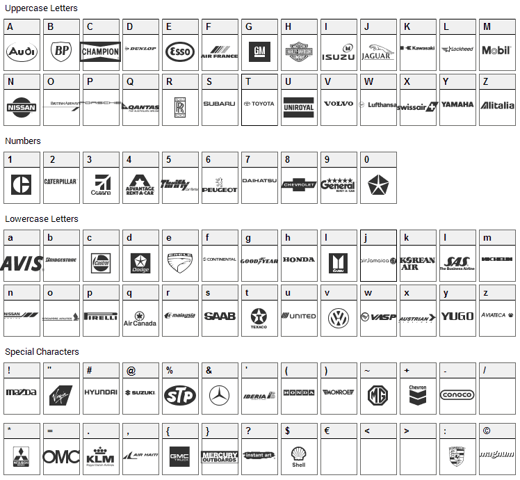 Transport Font Character Map