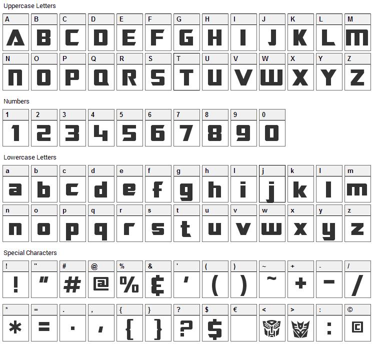 Transrobotics Font Character Map