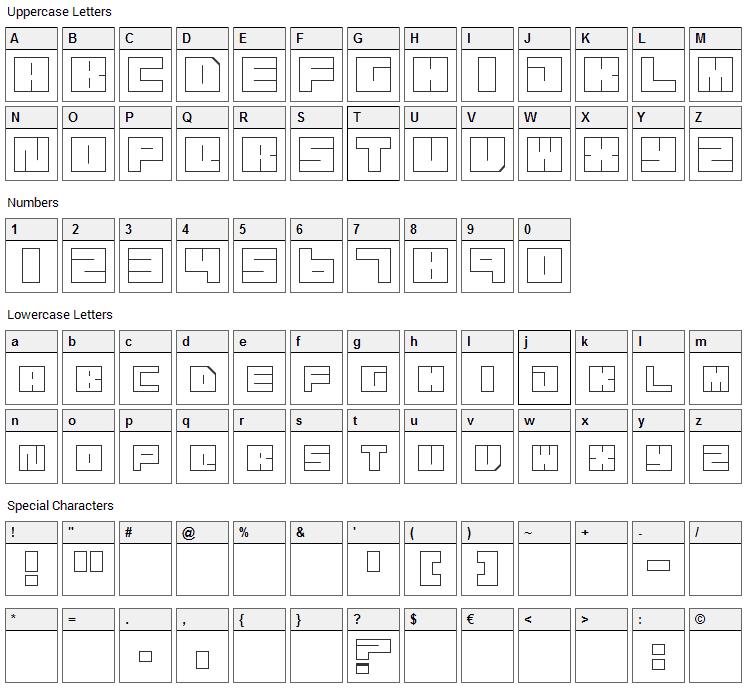 Transuranium Font Character Map