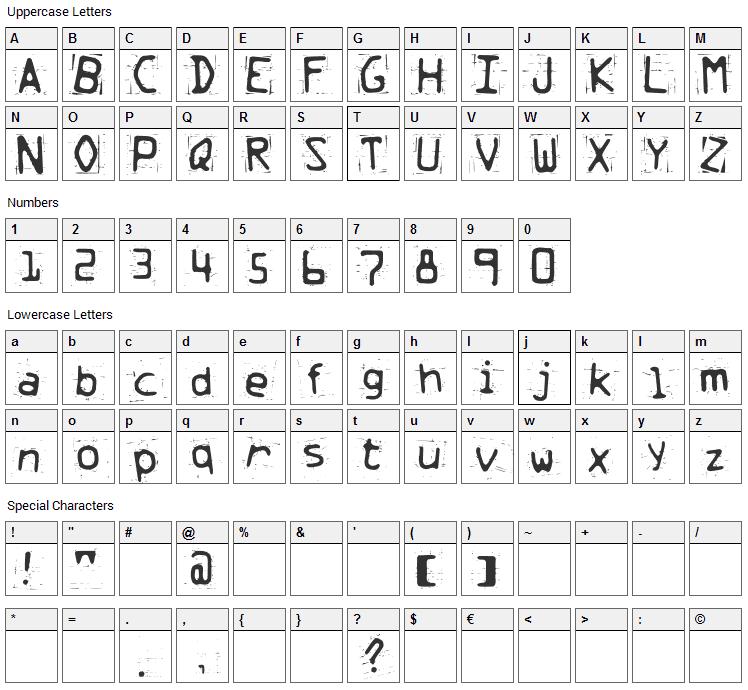 Trash Font Character Map