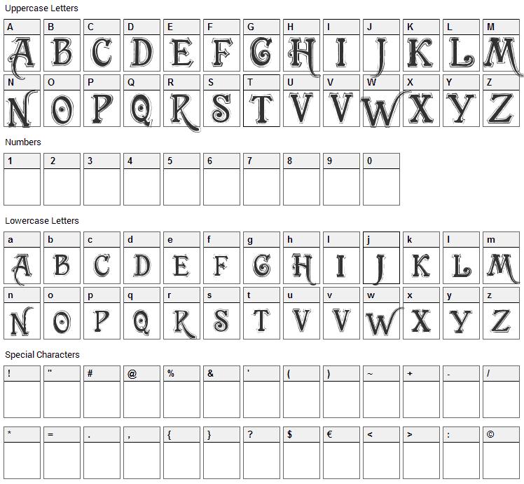 TrashBarusa Font Character Map