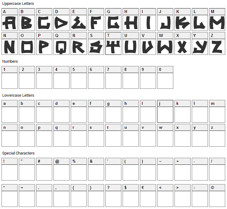 Trasher 2 Font Character Map