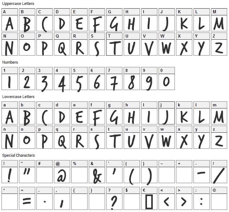 TrashHand Font Character Map