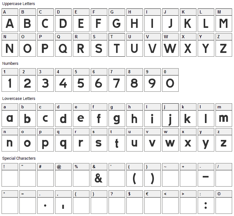 Tratex Font Character Map