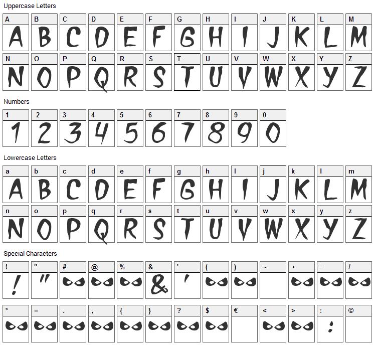 Treasure Font Character Map