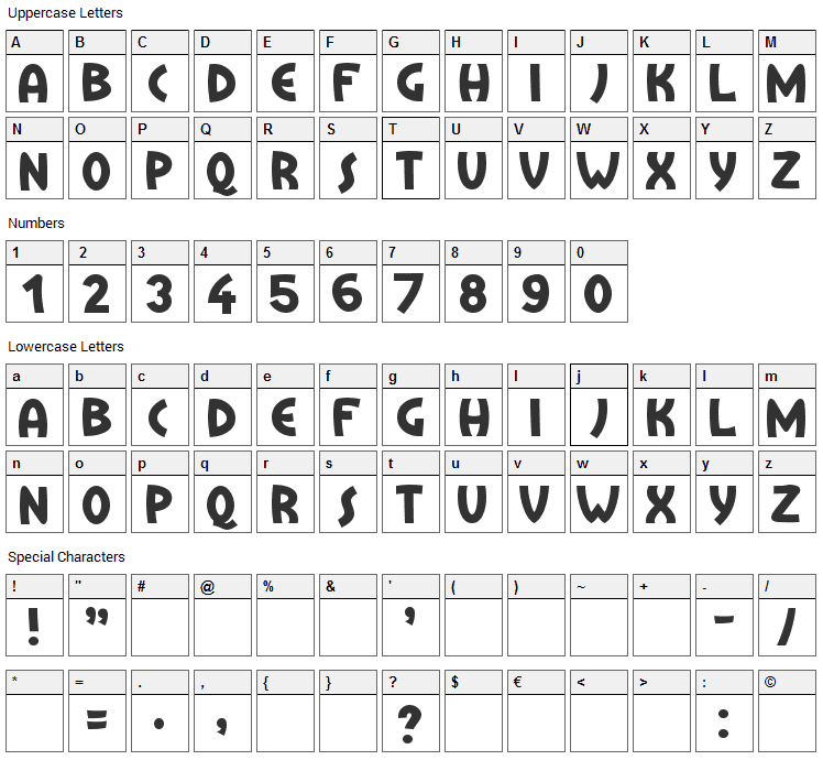 Treasure Island Font Character Map