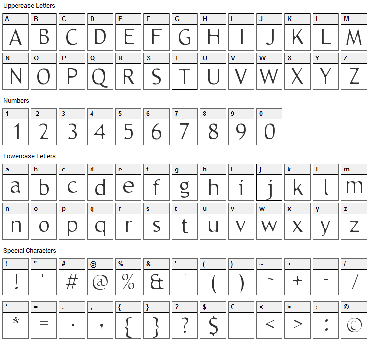 Trebble Font Character Map