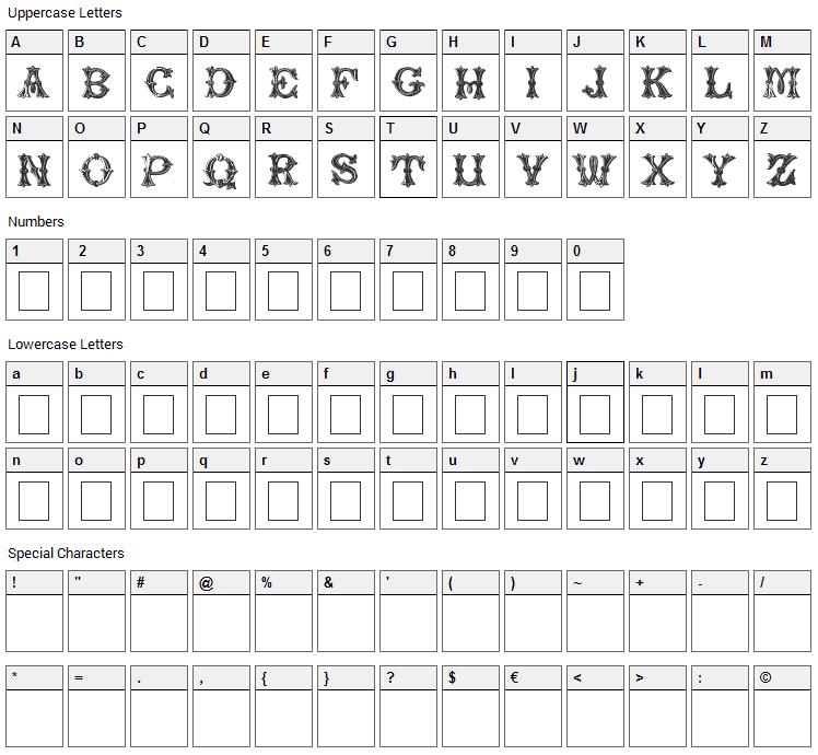 Trefoil Capitals Font Character Map