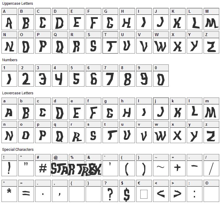 Trek Disruptor Blast Font Character Map