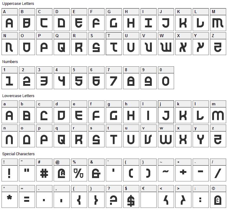 Trek Trooper Font Character Map