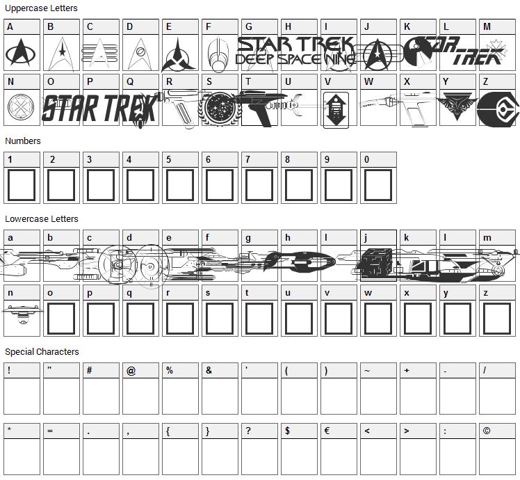 Trekbats Font Character Map