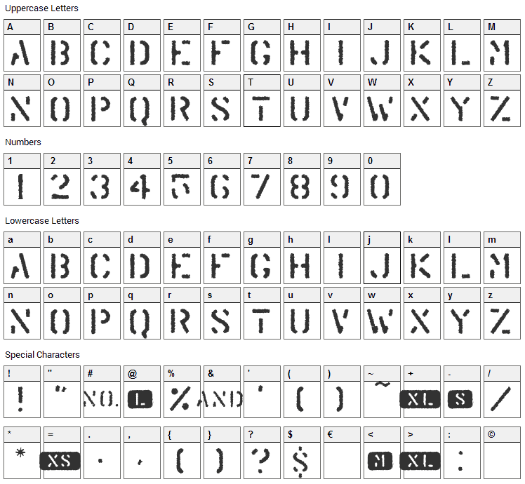 Trendy University Font Character Map