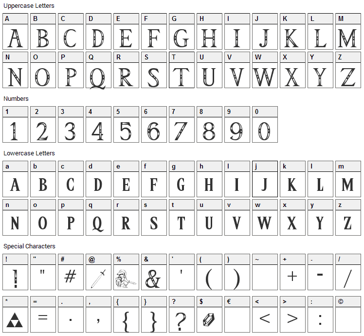 Triforce Font Character Map