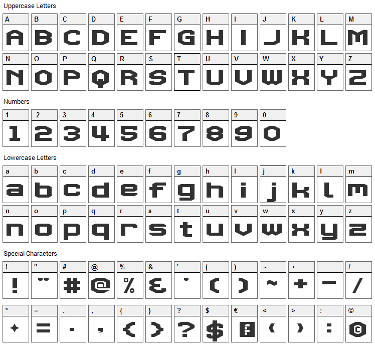 Triggering Fanfares Font Character Map