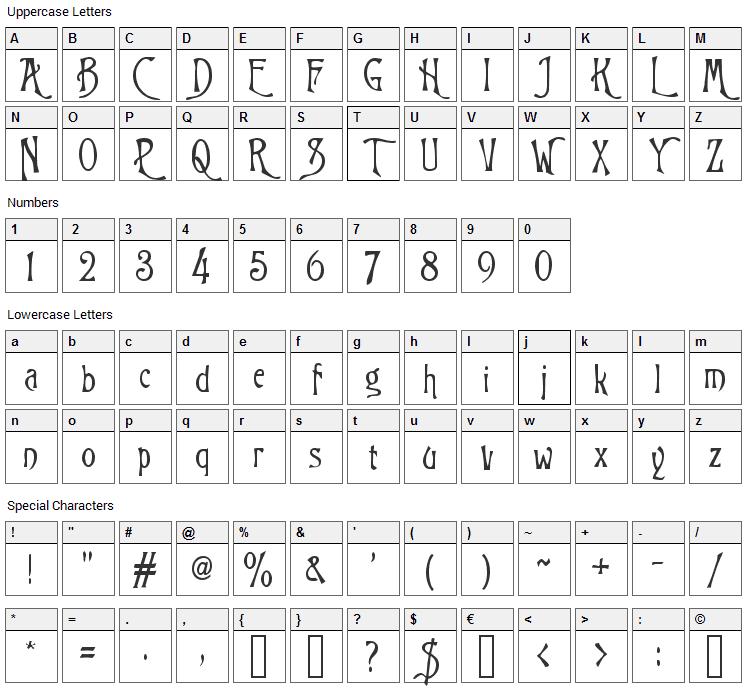 Trinigan Font Character Map