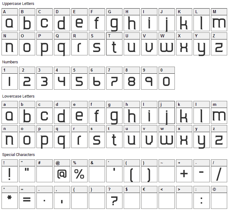 TripSerif CE Font Character Map
