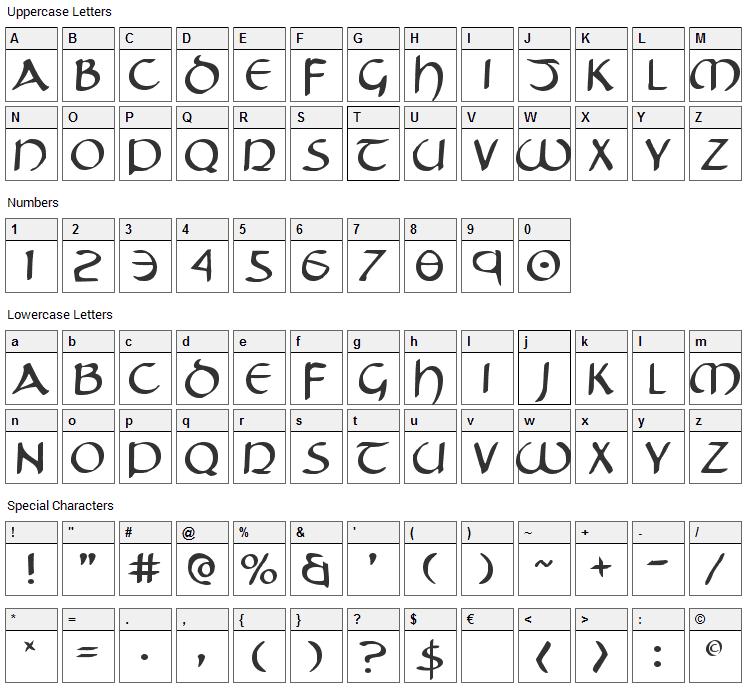 Tristram Font Character Map