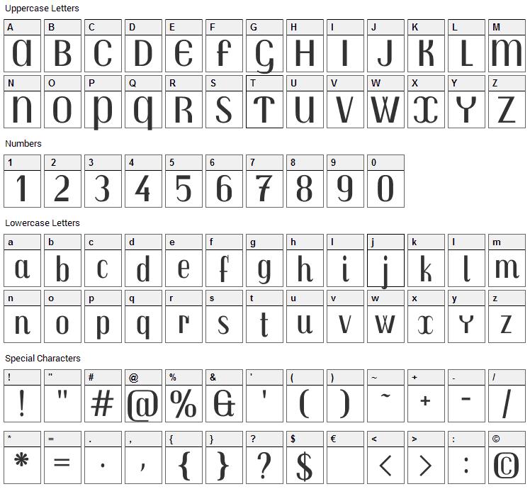 Trochut Font Character Map