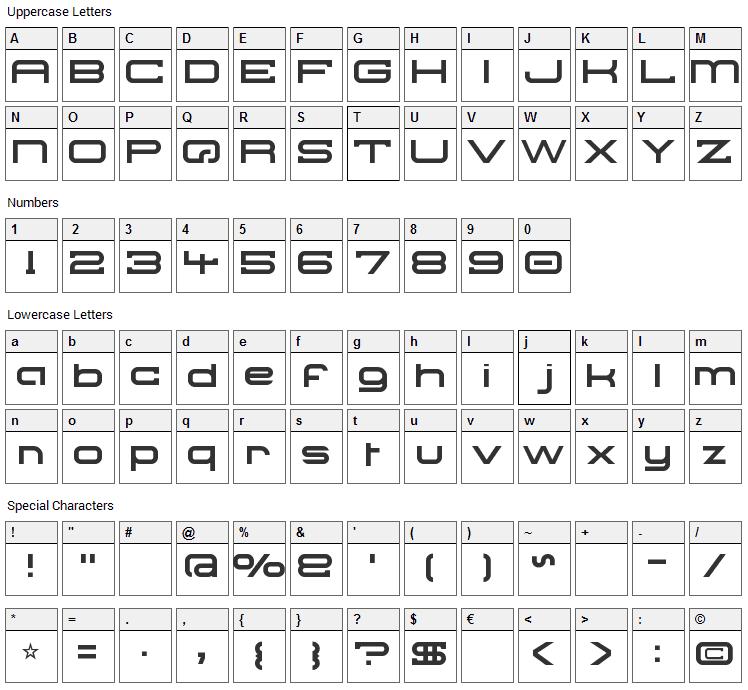 Troglodyte Pop Font Character Map