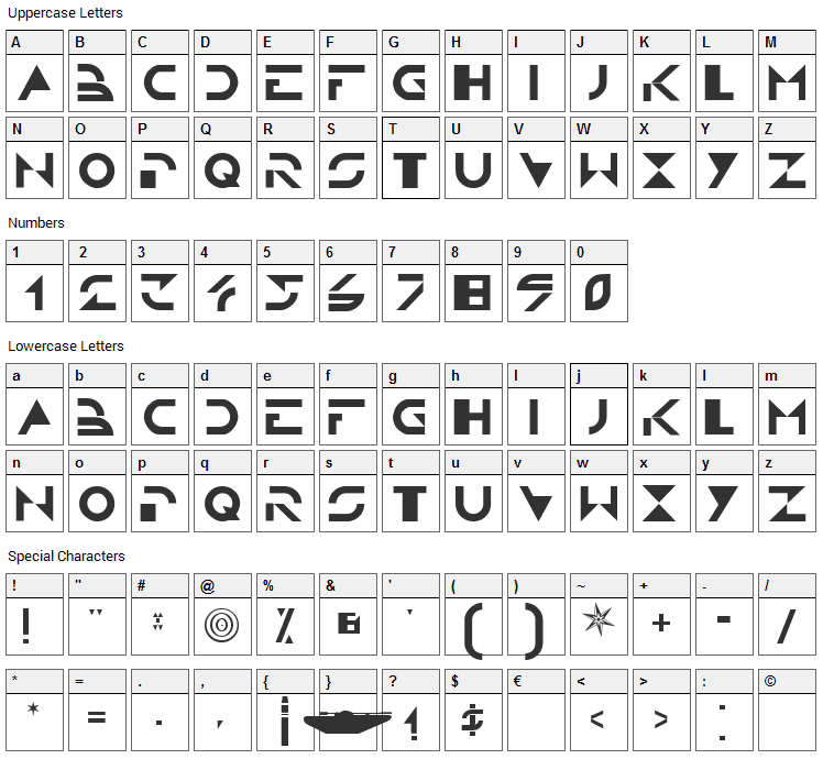 Tron Font Character Map