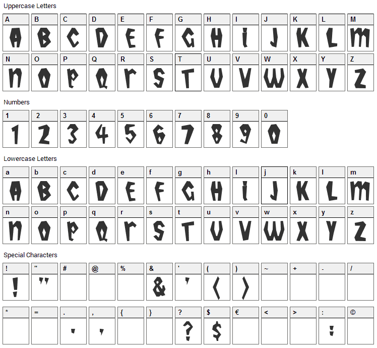 Tropicana Font Character Map