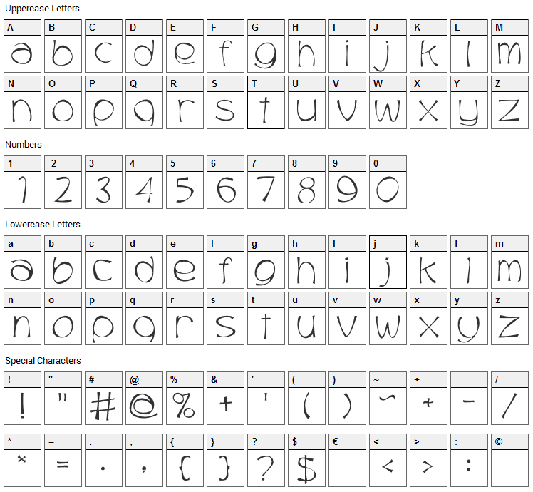Trubble Font Character Map