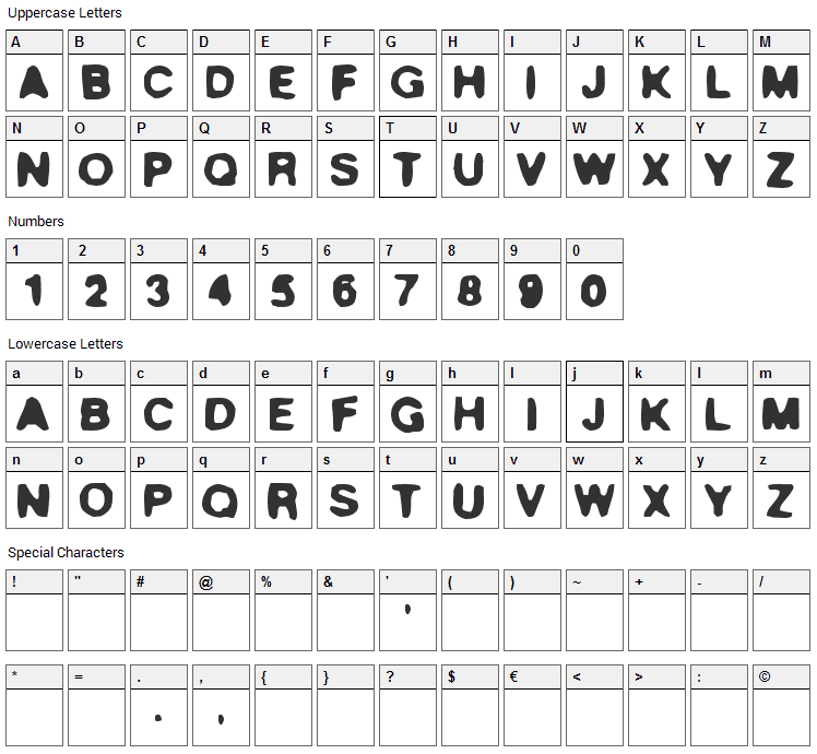 True Stories Font Character Map