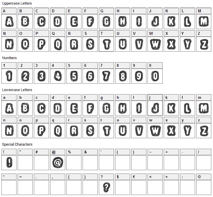 Truffle Shuffle Font Character Map