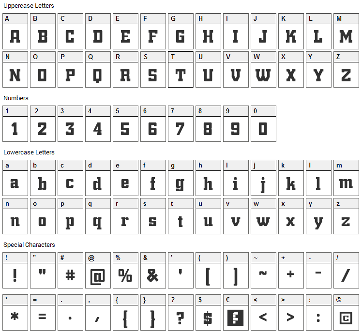 Trump Town Pro Font Character Map