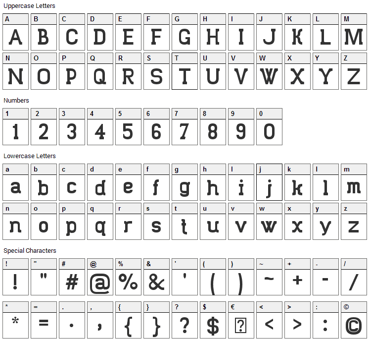 Trunkmill Font Character Map
