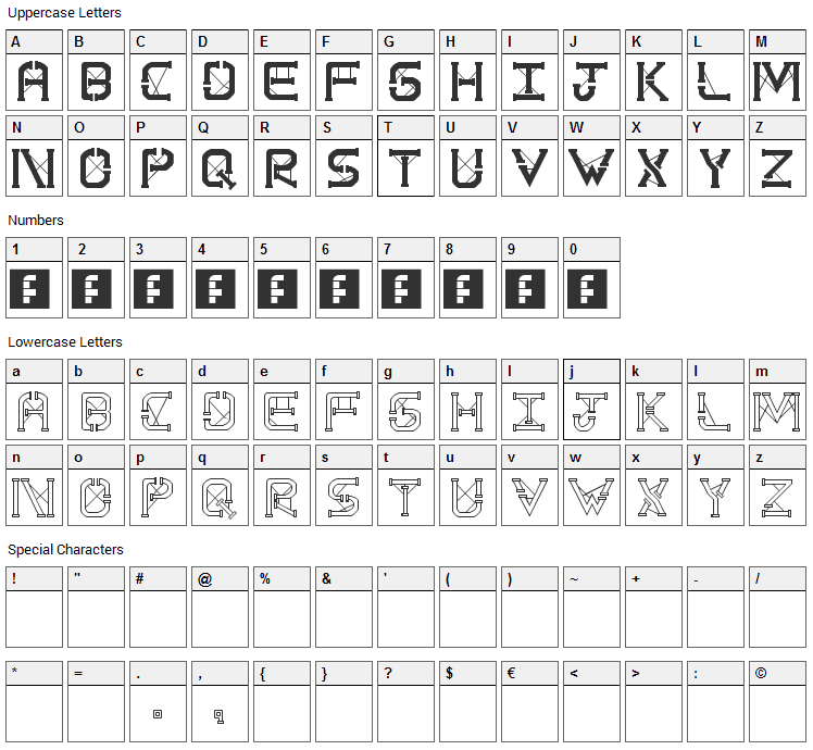 TS PipeStruct Plus Font Character Map