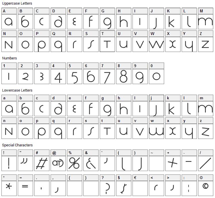 Tschich Font Character Map