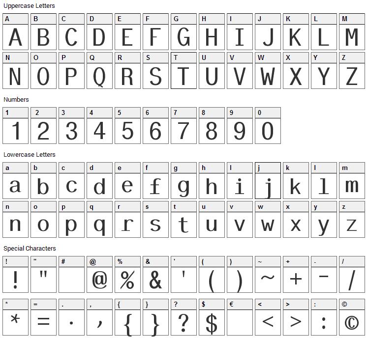 Tt-Kp Font Character Map