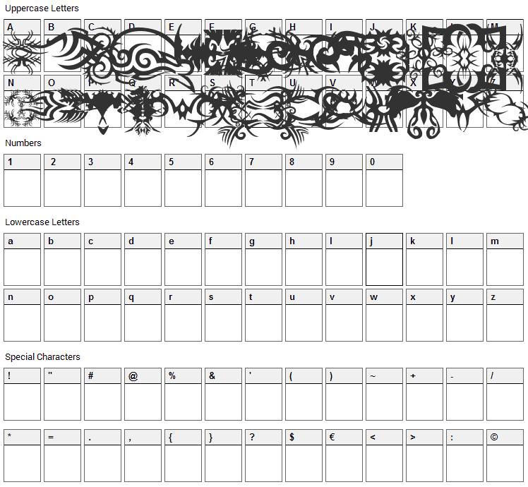 TTF Tattoef Font Character Map