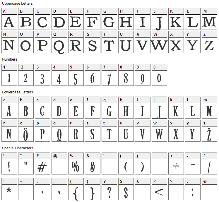Tuce Font Character Map