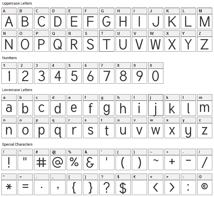 Tuffy Font Character Map