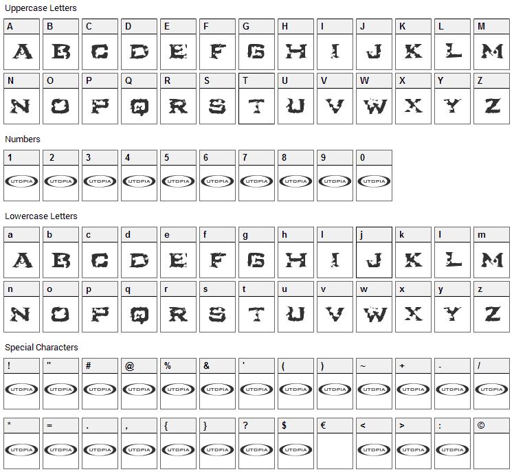 Turbulence Font Character Map