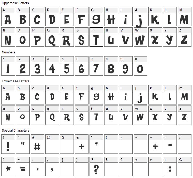 Turkey Sandwich Font Character Map