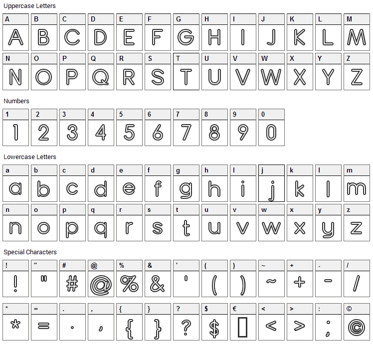 Turn Table Font Character Map