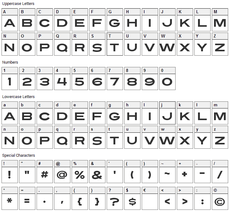 Turnpike Font Character Map