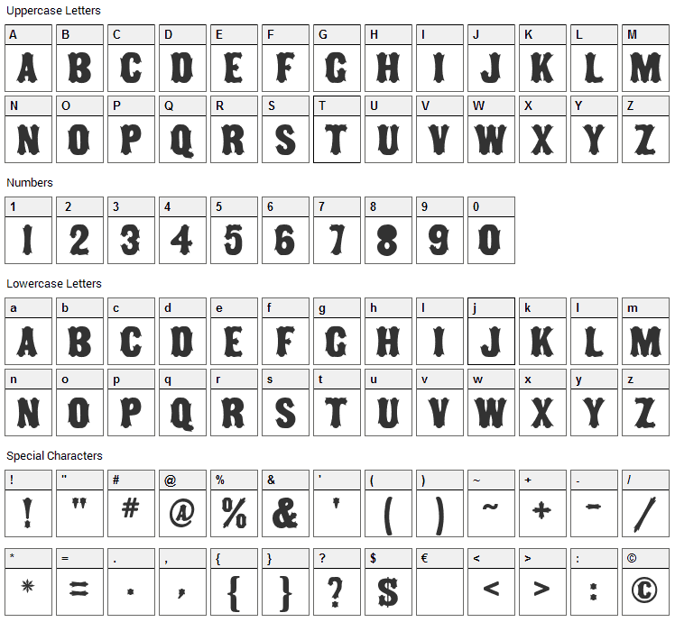 Tuscan MF Font Character Map