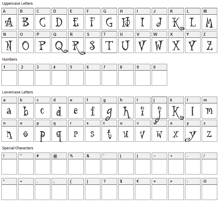 Tuscarora Font Character Map